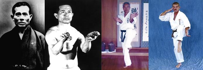 Uechi Ryu Karate Masters Kanbun Uechi, Kanei Uechi, Ken Nakamatsu, and Frank Gorman